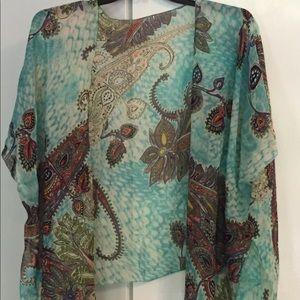 Sheer turquoise kimono